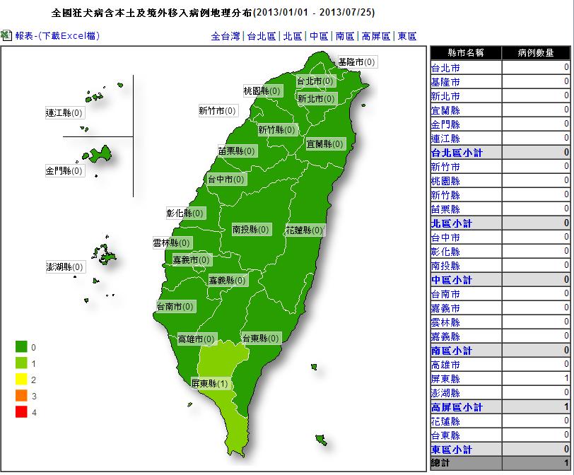 狂犬病台灣分布地理位置