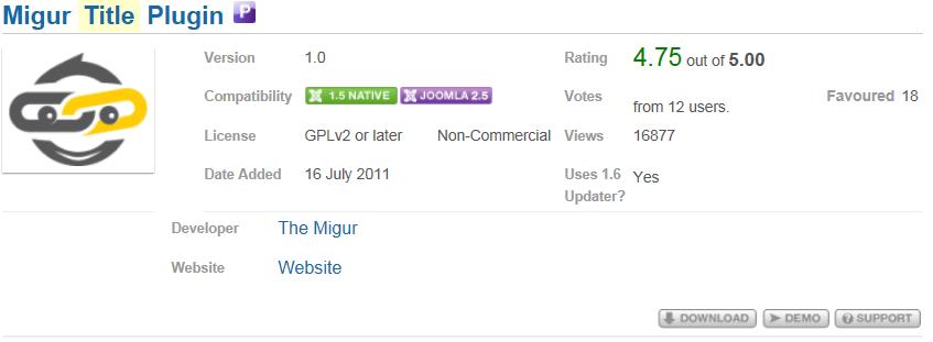 Migur title plugin - 網頁標題管理外掛